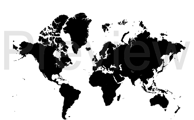 world map - black and white
