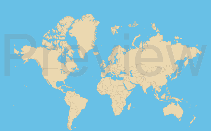 world map - tan and blue