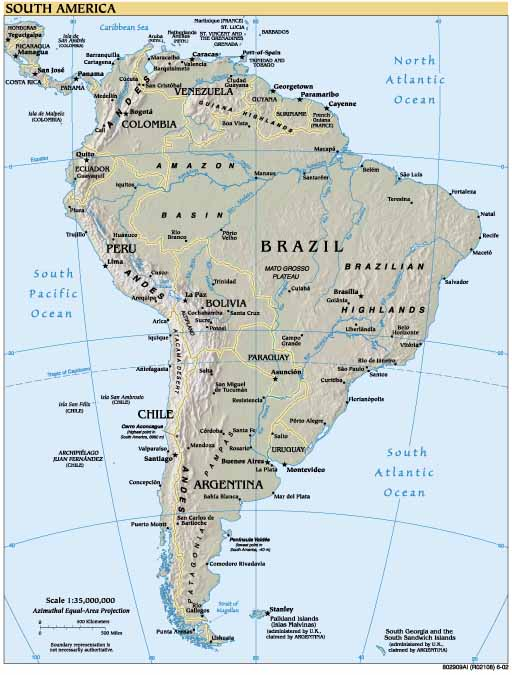 Map Of Latin America. South America Map